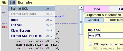 SQL Formatter screen shot